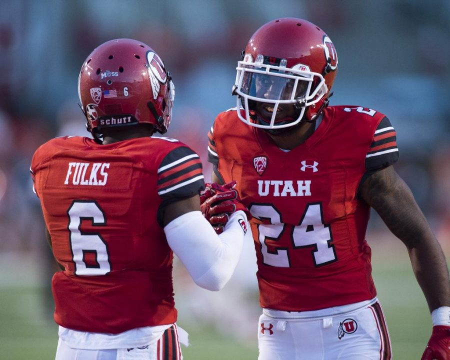 The+University+of+Utah+senior+wide+receiver+Kyle+Fulks+%286%29+talks+with+senior+defensive+back+Kenric+Young+%2824%29+before+the+punt+retun+in+an+NCAA+football+game+vs.+The+North+Dakota+Hawks+at+Rice+Eccles+Stadium+on+Thursday%2C+Aug.+31%2C+2017%0A%0A%28Photo+by+Kiffer+Creveling+%7C+The+Daily+Utah+Chronicle%29