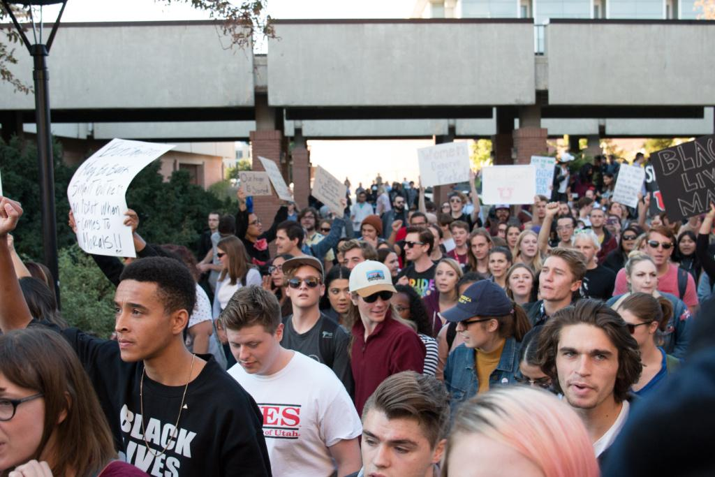 Protesters gather outside of a Ben Shapiro speech at the University of Utah on September 27, 2017. Chronicle archives.