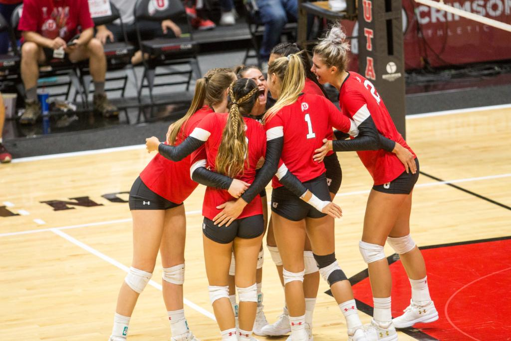 University of Utah  Girls Volleyball Dani Barton (1) cheering with team after point against  BYU at the Hunstman center in Salt Lake City, UT on Thursday,Sept.14, 2017  (Photo by Jose Remes/ Daily Utah Chronicle)