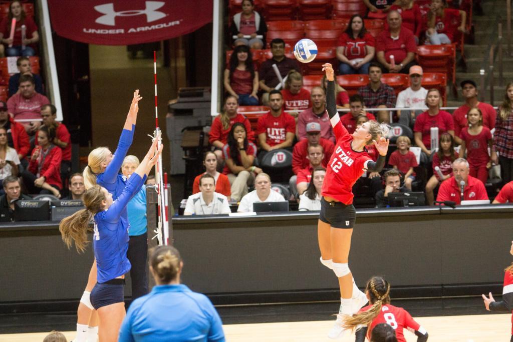 University of Utah  Girls Volleyball Berkley Oblad (12) spikes ball against BYU at the Hunstman center in Salt Lake City, UT on Thursday,Sept.14, 2017  (Photo by Jose Remes/ Daily Utah Chronicle)