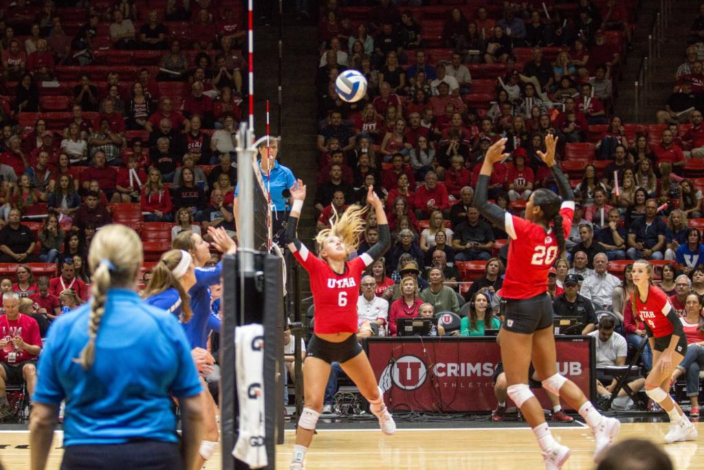 University of Utah  Girls Volleyball Camryn Machado(6) sets Tawnee Luafalemana (20) for the spike against BYU at the Hunstman center in Salt Lake City, UT on Thursday,Sept.14, 2017  (Photo by Jose Remes/ Daily Utah Chronicle)