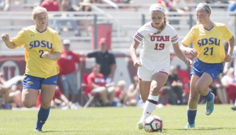 Hailey Skolmoski (19) dribbles the soccer ball during the Utah Utes Women's soccer team 4-1 victory over South Dakota State University at Ute Soccer Field in Salt Lake City, Utah on Sunday, Aug. 20, 2017.