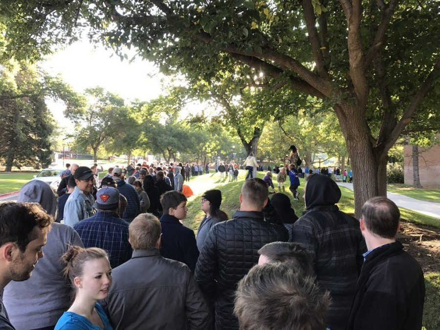 At least 1,000 people waited in line on Sept. 23, 2017, with the hope of securing a ticket to see Ben Shapiro at the University of Utah.