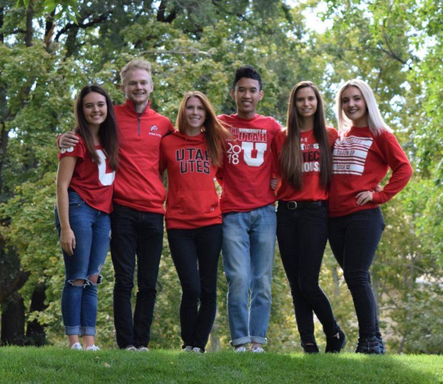 The 2017 University of Utah Homecoming Court is Carly Shields, Ridge Durrant, Amanda Groneman, Eric Nhem, Liz Reiss and Keely Kringlen.