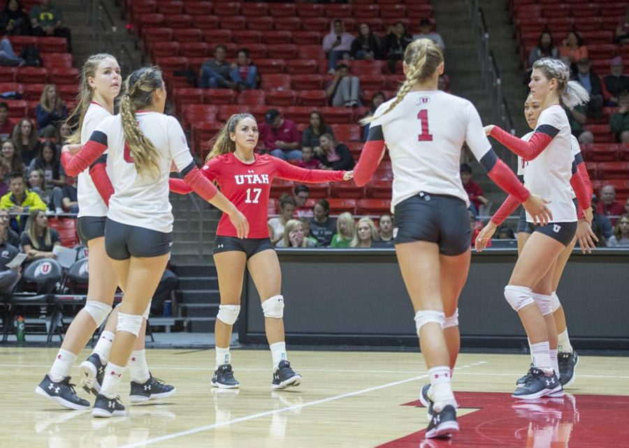University of Utah Volleyball sophomore libero/defensive specialist Brianna Doehrmann (17) congratulates her teammates after a point in a set of matches vs. The Oregon Ducks at the Huntsman Center in Salt Lake City, UT on Friday, Sept. 29, 2017  (Photo by Kiffer Creveling   The Daily Utah Chronicle)