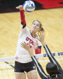 University of Utah Volleyball senior outside hitter Carly Trueman (10) spikes the ball in a set of matches vs. The Oregon Ducks at the Huntsman Center in Salt Lake City, UT on Friday, Sept. 29, 2017  (Photo by Kiffer Creveling | The Daily Utah Chronicle)