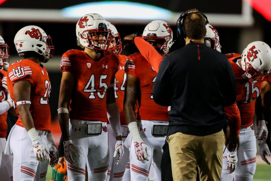 Samson Nacua during a timeout as Utah Utes Football takes on Stanford Cardinals at Rice-Eccles Stadium in Salt Lake City, UT on Saturday, October7, 2017.   (Photo by Curtis Lin/Daily Utah Chronicle)