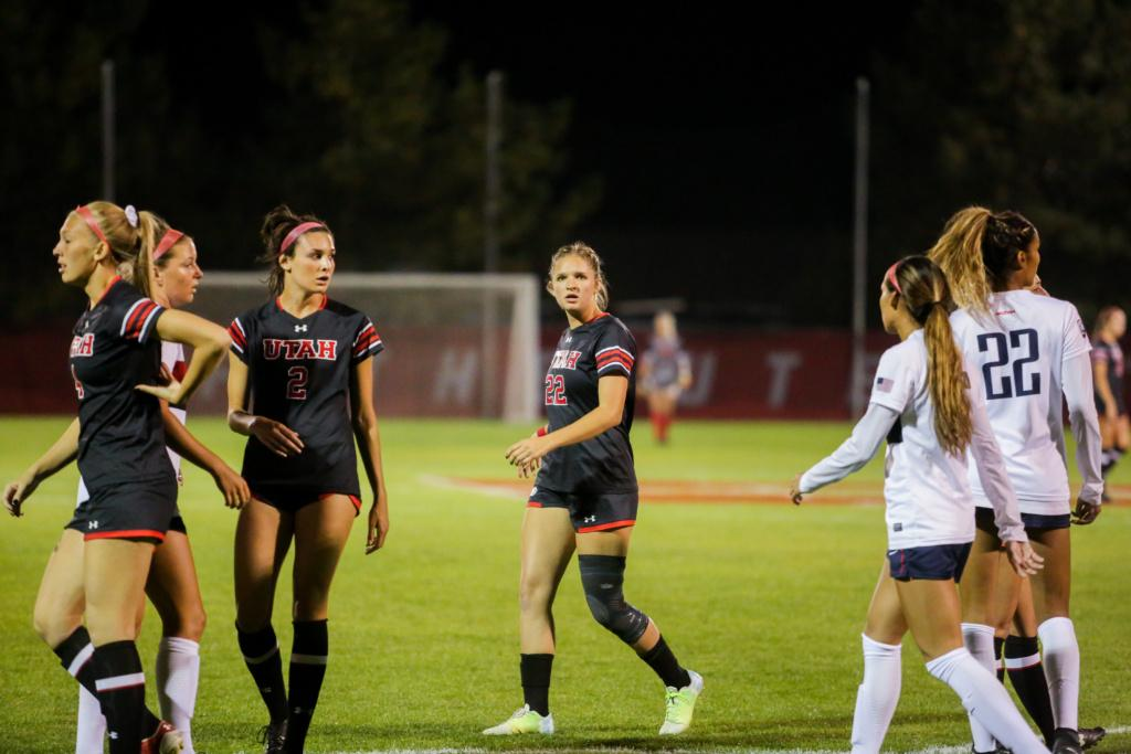 Ella Ballstaedt readies for a corner kick as the Utah Women's Soccer Team takes on the Arizona Wildcats at Ute Soccer Field in Salt Lake City, UT on Thursday,Oct. 19, 2017.  (Photo by Curtis Lin/ Daily Utah Chronicle)