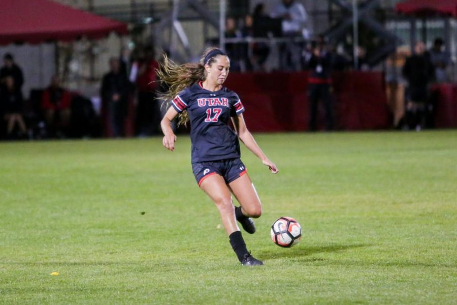 Haylee Cacciacarne dribbles the ball as the Utah Womens Soccer Team takes on the Arizona Wildcats at Ute Soccer Field in Salt Lake City, UT on Thursday,Oct. 19, 2017.  (Photo by Curtis Lin/ Daily Utah Chronicle)