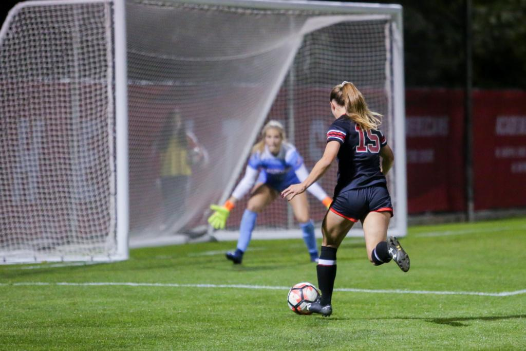 Natalie Vukic about to shoot as the Utah Women's Soccer Team takes on the Arizona Wildcats at Ute Soccer Field in Salt Lake City, UT on Thursday,Oct. 19, 2017.  (Photo by Curtis Lin/ Daily Utah Chronicle)