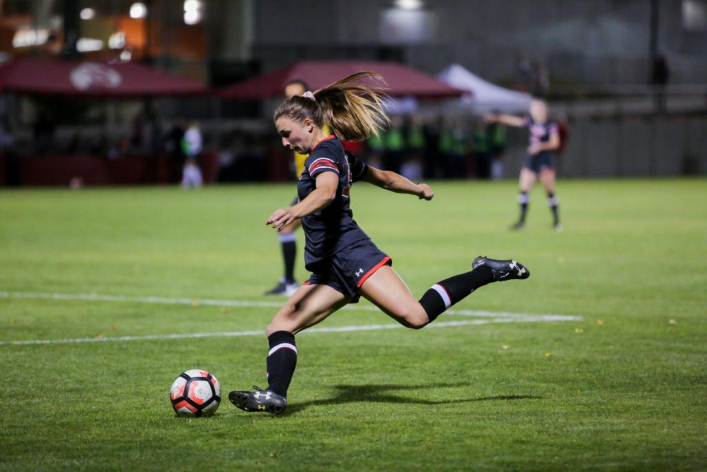 Natalie Vukic goes for a shot as the Utah Women's Soccer Team takes on the Arizona Wildcats at Ute Soccer Field in Salt Lake City, UT on Thursday,Oct. 19, 2017.  (Photo by Curtis Lin/ Daily Utah Chronicle)