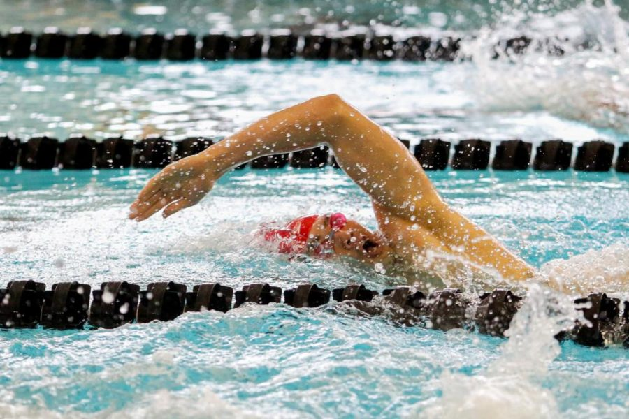 Sophomore Rahiti De Vos in the Mens 500 Free as the Utah Men and Womens Swim and Dive Team take on the Stanford Cardinals at the Ute Natatorium in Salt Lake City, UT on Friday, Oct. 20, 2017.  (Photo by Curtis Lin/ Daily Utah Chronicle)