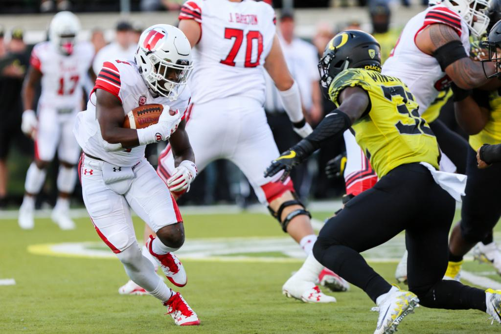 Sophomore running back Devonta'e Henry-Cole (7) runs as the Utah Utes Football team take on the Oregon Ducks at Autzen Stadium in Eugene, OR on Saturday, October28, 2017.   (Photo by Curtis Lin/Daily Utah Chronicle)