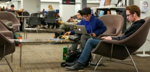 University of Utah  library students lounge for comfort. Salt Lake City, UT on Thursday,Oct.5, 2017  (Photo by Jose Remes/ Daily Utah Chronicle)