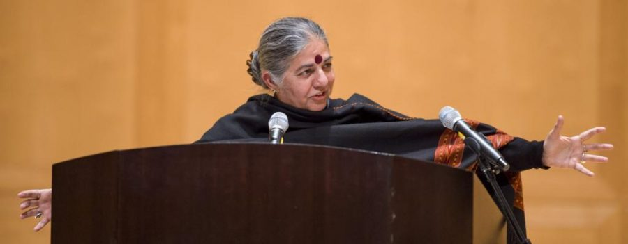 Vandana Shiva speaks to an audience regarding interconnectedness and the nature of humanity in her talk titled