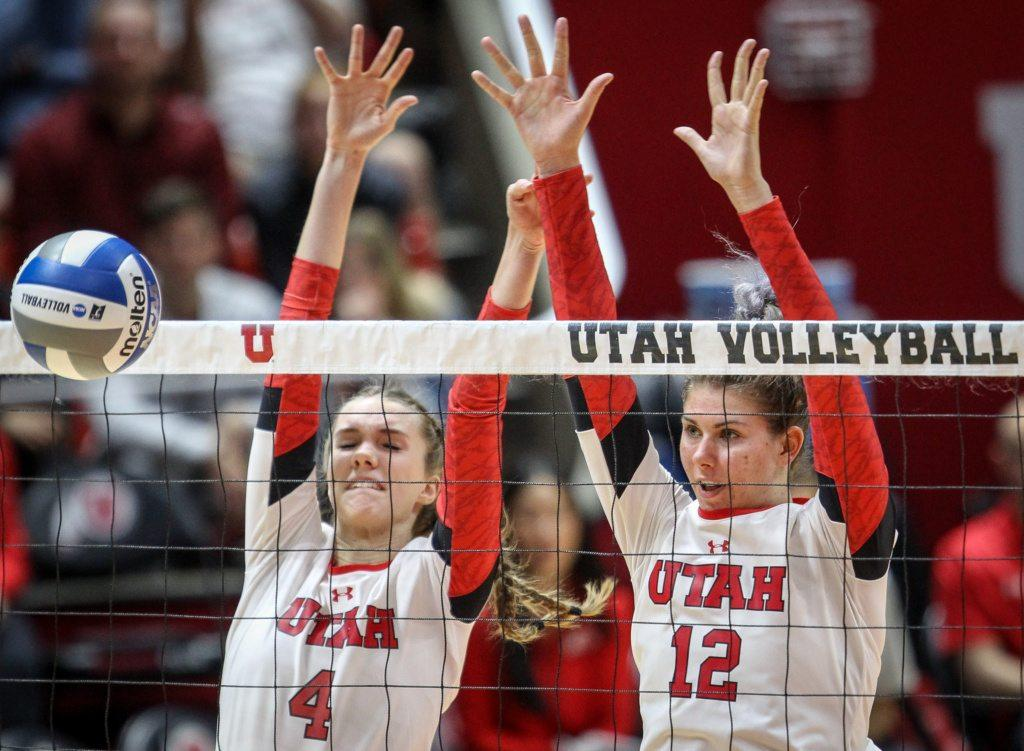 Utah outside hitter Kenzie Koerber (4) and middle blocker Berkeley Oblad (12) block a shot by Cleveland State during the first round of the NCAA Volleyball Tournament as the University of Utah hosts Cleveland State at the Hunstman Center in Salt Lake on Thursday, Nov. 30, 2017. Utah wins the match 3 sets to none and advances to play Purdue University tomorrow.