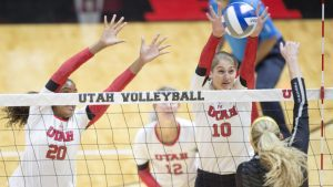 University of Utah Volleyball senior middle blocker Tawnee Luafalemana (20) and senior outside hitter Carly Trueman (10) block the ball in a set of matches vs. The Oregon Ducks at the Huntsman Center in Salt Lake City, UT on Friday, Sept. 29, 2017  (Photo by Kiffer Creveling | The Daily Utah Chronicle)