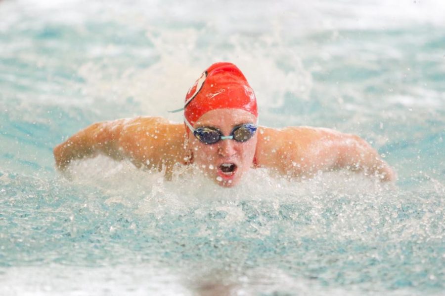 Junior Jordan Anderson in the Womens 200 Fly as the Utah Men and Womens Swim and Dive Team take on the Stanford Cardinals at the Ute Natatorium in Salt Lake City, UT on Friday, Oct. 20, 2017.  (Photo by Curtis Lin/ Daily Utah Chronicle)