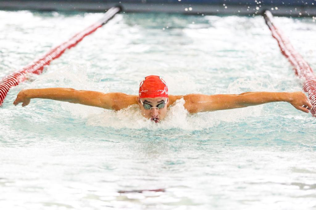 Senior Ben Scott in the Men's 200 Fly as the Utah Men and Women's Swim and Dive  Team take on the Stanford Cardinals at the Ute Natatorium in Salt Lake City, UT on Friday, Oct. 20, 2017.  (Photo by Curtis Lin/ Daily Utah Chronicle)