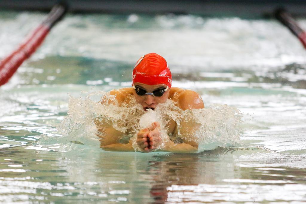 Senior Ganem Tebet in the Men's 200 Breast as the Utah Men and Women's Swim and Dive Team take on the Stanford Cardinals at the Ute Natatorium in Salt Lake City, UT on Friday, Oct. 20, 2017.  (Photo by Curtis Lin/ Daily Utah Chronicle)