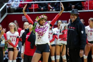 University of Utah senior middle blocker Tawnee Luafalemana (20) waved to the crowd in an NCAA Volleyball game vs. The Arizona Wildcats in Jon M. Huntsman Center in Salt Lake City, UT on Saturday, Nov. 18, 2017.  (Photo by Curtis Lin/ Daily Utah Chronicle)
