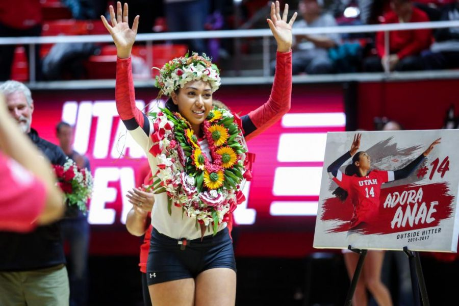 University of Utah senior outside hitter Adora Anae (14) waved to the crowd in an NCAA Volleyball game vs. The Arizona Wildcats in Jon M. Huntsman Center in Salt Lake City, UT on Saturday, Nov. 18, 2017.  (Photo by Curtis Lin/ Daily Utah Chronicle)