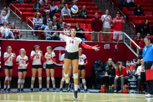University of Utah senior outside hitter Adora Anae (14) in an NCAA Volleyball game vs. The Arizona Wildcats in Jon M. Huntsman Center in Salt Lake City, UT on Saturday, Nov. 18, 2017.  (Photo by Curtis Lin/ Daily Utah Chronicle)