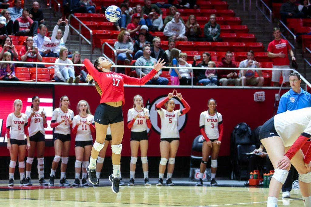 University of Utah sophomore defensive specialist Briana Doehrmann (17) served the ball in an NCAA Volleyball game vs. The Arizona Wildcats in Jon M. Huntsman Center in Salt Lake City, UT on Saturday, Nov. 18, 2017.  (Photo by Curtis Lin/ Daily Utah Chronicle)