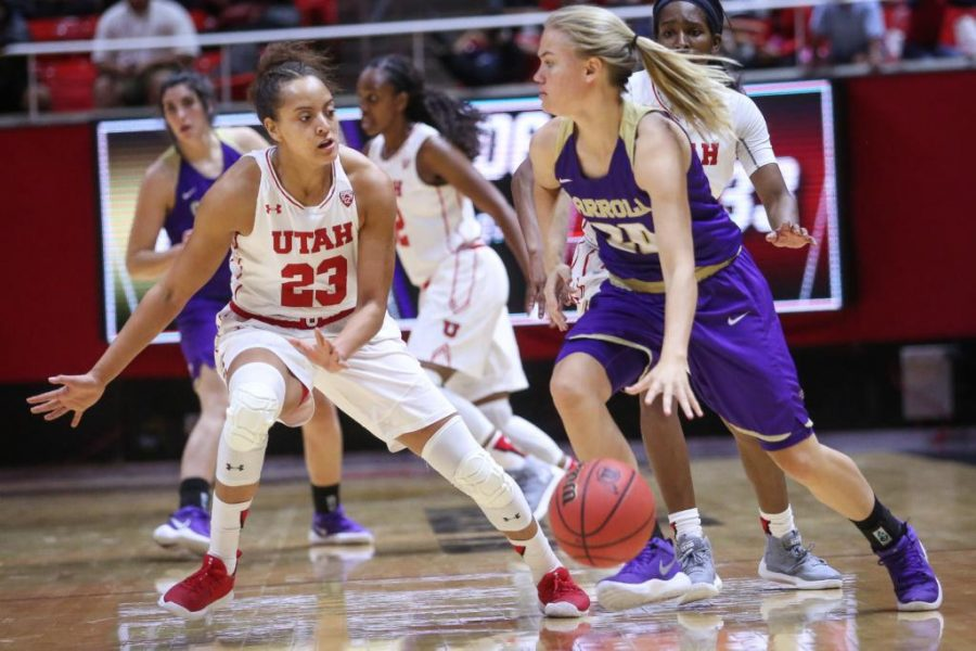 Daneesha+Provo+%2823%29+guards+Mikaela+Dowdy+%2820%29+in+the+Utah+Utes+Women%27s+basketball+victory+game+over+Carroll+College+at+the+Huntsman+Center+in+Salt+Lake+City%2C+Utah+on+Thursday%2C+November+2%2C+2017.%0A%0A%28Photo+by+Cassandra+Palor%2F+Daily+Utah+Chronicle%29