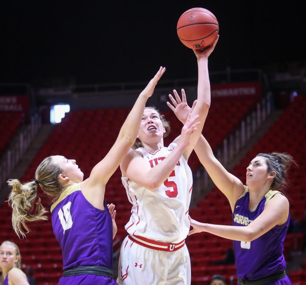 Megan Huff (5) shoots the ball in the Utah Utes Women's basketball victory game over Carroll College at the Huntsman Center in Salt Lake City, Utah on Thursday, November 2, 2017.  (Photo by Cassandra Palor/ Daily Utah Chronicle)