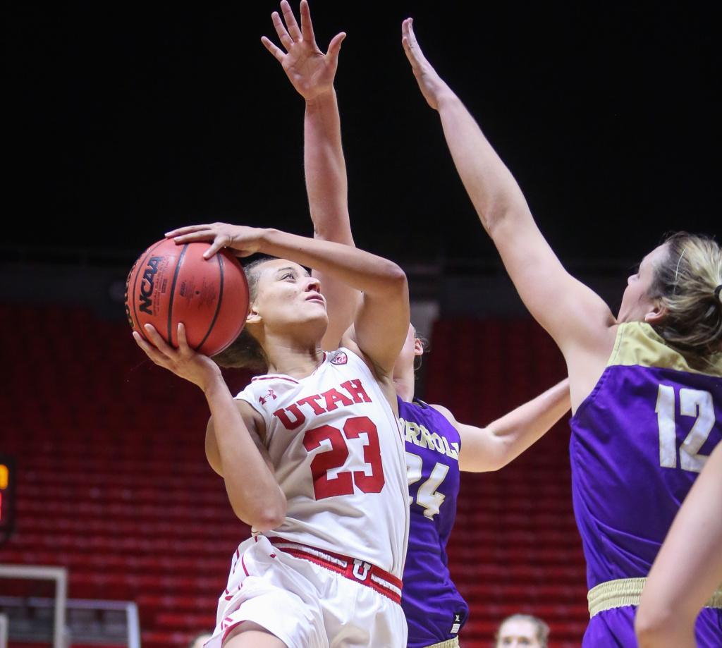 Daneesha Provo (0)  shoots the ball in the Utah Utes Women's basketball victory game over Carroll College at the Huntsman Center in Salt Lake City, Utah on Thursday, November 2, 2017.  (Photo by Cassandra Palor/ Daily Utah Chronicle)