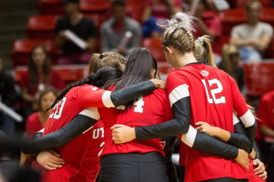 University of Utah  Girls Volleyball, (Left) Tawnee Luafalemana (20), Adora Anae (14), (right) Berkley Oblad (12) huddle with teammates during BYU matchup at the Hunstman center in Salt Lake City, UT on Thursday,Sept.14, 2017  (Photo by Jose Remes/ Daily Utah Chronicle)