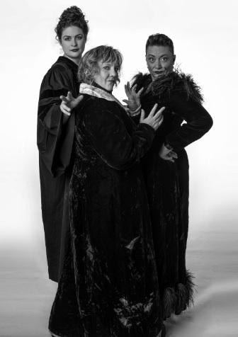 Actresses Betsy West (Leandra), Ali Lente (Skye) and Tamara Howell (Floon) in Weyward Sisters