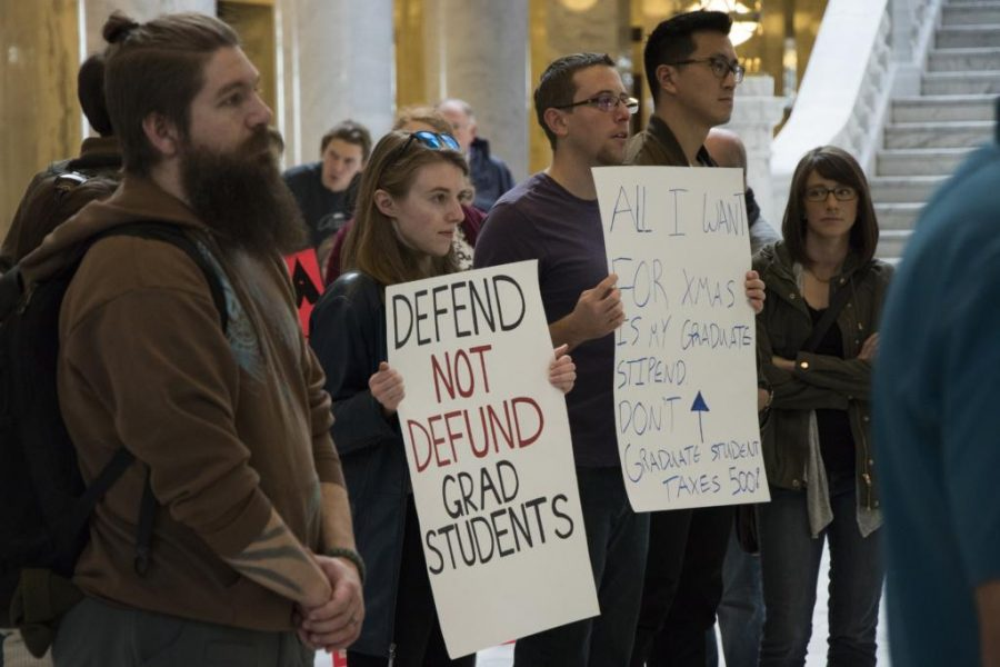 Graduate students from universities throughout Utah gathered at the state Capitol on November 21, 2017, to protest Congress's new tax reform bill.
