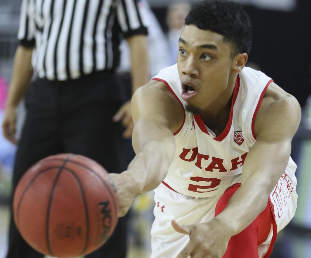 Utah guard Sedrick Barefield (2) passing the ball during the second round of the PAC 12 Tournament against the California Golden Bears at the T-Mobile Center in Las Vegas, Nevanda on Thursday, March 9, 2017. Chris Ayers Daily Utah Chronicle.