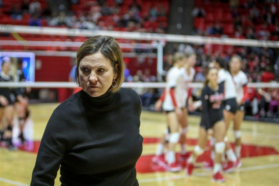 Utah Head Coach Beth Launiere unhappy accepts a call during the first round of the NCAA Volleyball Tournament as the University of Utah hosts Cleveland State at the Hunstman Center in Salt Lake on Thursday, Nov. 30, 2017. Utah wins the match 3 sets to none and advances to play Purdue University tomorrow.