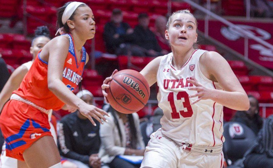 University+of+Utah+sophomore+guard+Megan+Jacobs+%2813%29+drives+towards+the+basket+in+an+NCAA+Women%27s+Basketball+game+vs.+The+University+of+Texas+Arlington+Mavericks+at+the+Jon+M.+Huntsman+Center+in+Salt+Lake+City%2C+Utah+on+Monday%2C+Nov.+27%2C+2017%0A%0A%28Kiffer+Creveling+%7C+The+Daily+Utah+Chronicle%29
