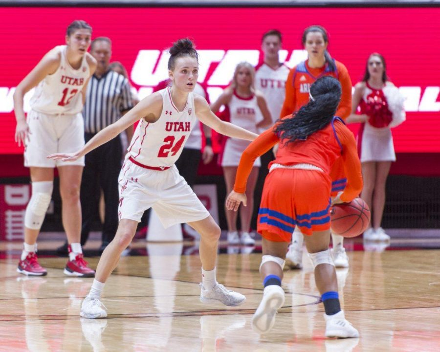 University+of+Utah+senior+wing+Tilar+Clark+%2824%29+guards+University+of+Texas+at+Arlington+junior+point+guard+Laurynn+McGowen+%281%29+in+an+NCAA+Women%27s+Basketball+game+at+the+Jon+M.+Huntsman+Center+in+Salt+Lake+City%2C+Utah+on+Monday%2C+Nov.+27%2C+2017