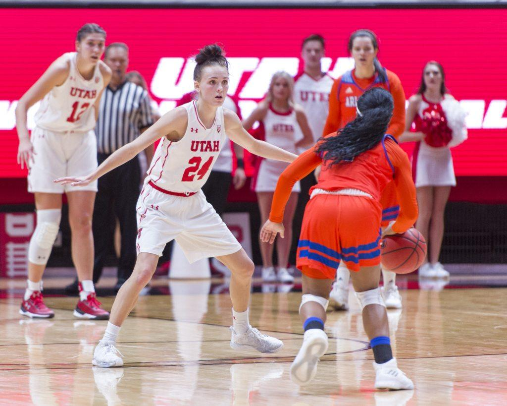 University of Utah senior wing Tilar Clark (24) guards University of Texas at Arlington junior point guard Laurynn McGowen (1) in an NCAA Women's Basketball game at the Jon M. Huntsman Center in Salt Lake City, Utah on Monday, Nov. 27, 2017