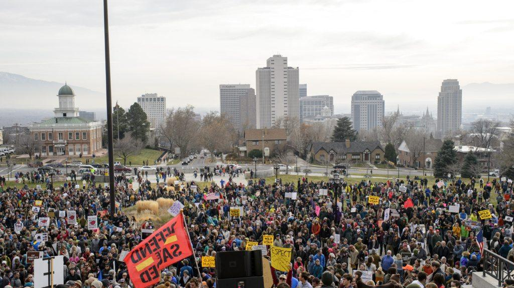 Thousands of Utahn's protest Trump's administration with the proposal of shrinking Bears Ears and Grand Staircase-Escalante national monuments in Salt Lake City, Utah on Saturday, Dec. 2, 2017  (Kiffer Creveling)
