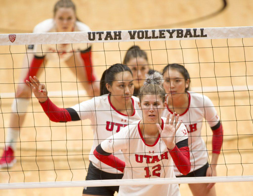 The University of Utah help direct the serve in an NCAA Volleyball match vs. The Purdue Boilermakers at the Jon M. Huntsman Center in Salt Lake City, Utah on Friday, Dec. 1, 2017  (Kiffer Creveling | The Daily Utah Chronicle)