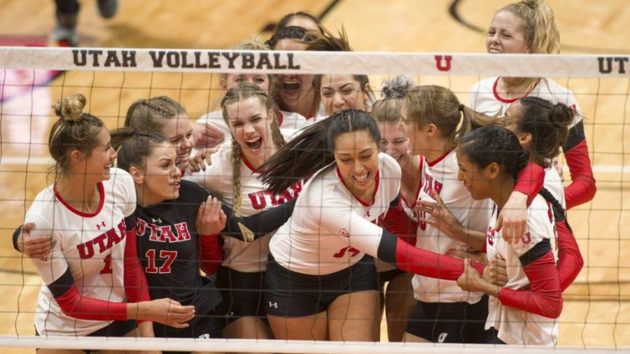 The Utah Utes celebrate after defeating The Purdue Boilermakers in an NCAA Volleyball tournament at the Jon M. Huntsman Center in Salt Lake City, Utah on Friday, Dec. 1, 2017  (Kiffer Creveling | The Daily Utah Chronicle)