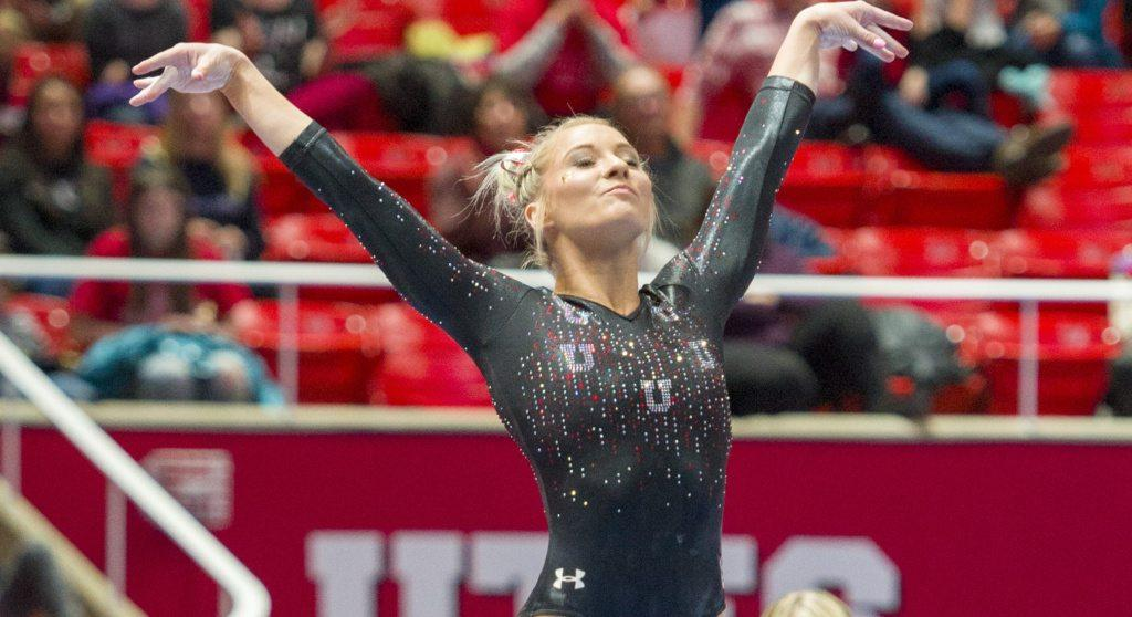 University of Utah gymnastics sophomore Mykayla Skinner performs on the floor in the Red Rocks Preview at the Jon M. Huntsman Center in Salt Lake City, Utah on Friday, Dec. 15, 2017  (Photo by Kiffer Creveling | The Daily Utah Chronicle)