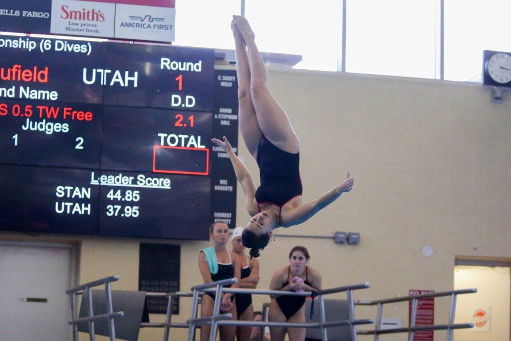 Junior Makenzie Caufield in the Women's 1m Dive as the Utah Men and Women's Swim and Dive Team take on the Stanford Cardinals at the Ute Natatorium in Salt Lake City, UT on Friday, Oct. 20, 2017.  (Photo by Curtis Lin/ Daily Utah Chronicle)