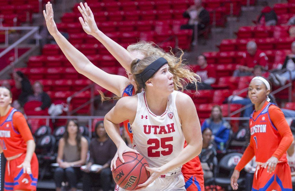 University of Utah freshman forward Maurane Corbin (25) turns for a layup in an NCAA Women's Basketball game vs. The University of Texas Arlington Mavericks at the Jon M. Huntsman Center in Salt Lake City, Utah on Monday, Nov. 27, 2017  (Kiffer Creveling | The Daily Utah Chronicle)