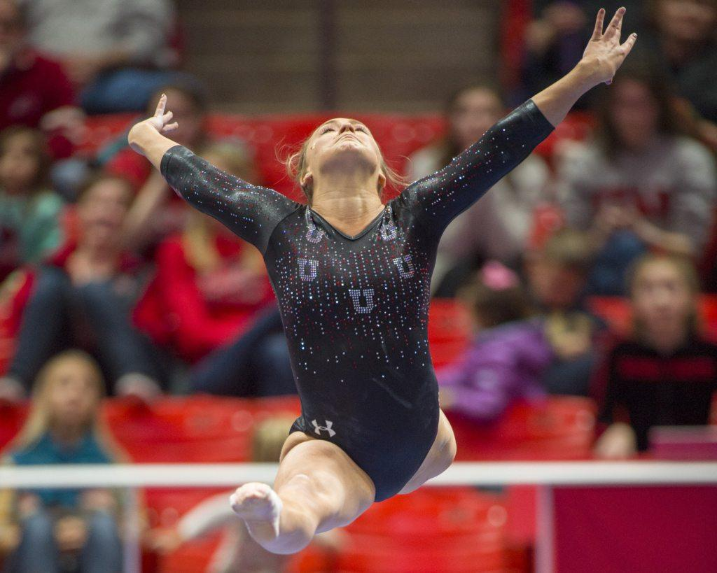 University of Utah gymnastics senior Maddy Stover performs on the balance beam in the Red Rocks Preview at the Jon M. Huntsman Center in Salt Lake City, Utah on Friday, Dec. 15, 2017  (Photo by Kiffer Creveling | The Daily Utah Chronicle)