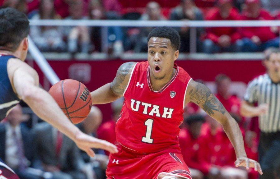 University+of+Utah+senior+guard+Justin+Bibbins+%281%29+drives+towards+the+basket+during+an+NCAA+Basketball+game+vs.+The+University+of+Arizona+Wildcats+at+the+Jon+M.+Huntsman+Center+in+Salt+Lake+City%2C+Utah+on+Thursday%2C+Jan.+4%2C+2018.%0A%0A%28Photo+by+Kiffer+Creveling+%7C+The+Daily+Utah+Chronicle%29