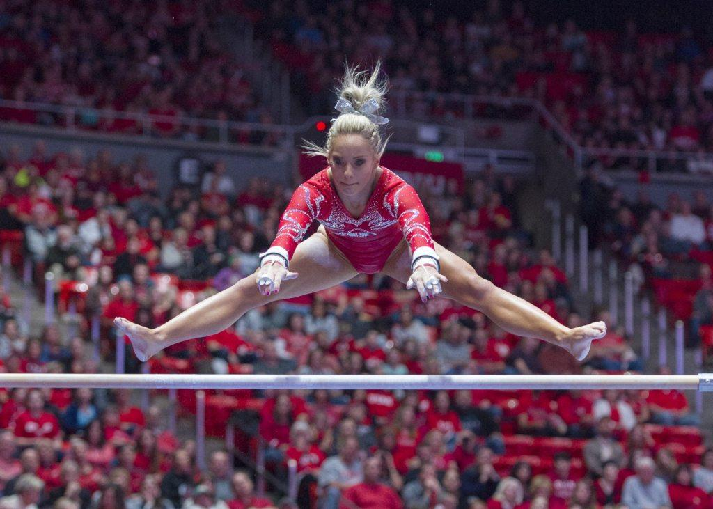 University of Utah women's gymnastics sophomore MyKayla Skinner performs on the uneven bars in a duel meet vs. Brigham Young University at the Jon M. Huntsman Center in Salt Lake City, Utah on Friday, Jan. 5, 2018.  (Photo by Kiffer Creveling | The Daily Utah Chronicle)