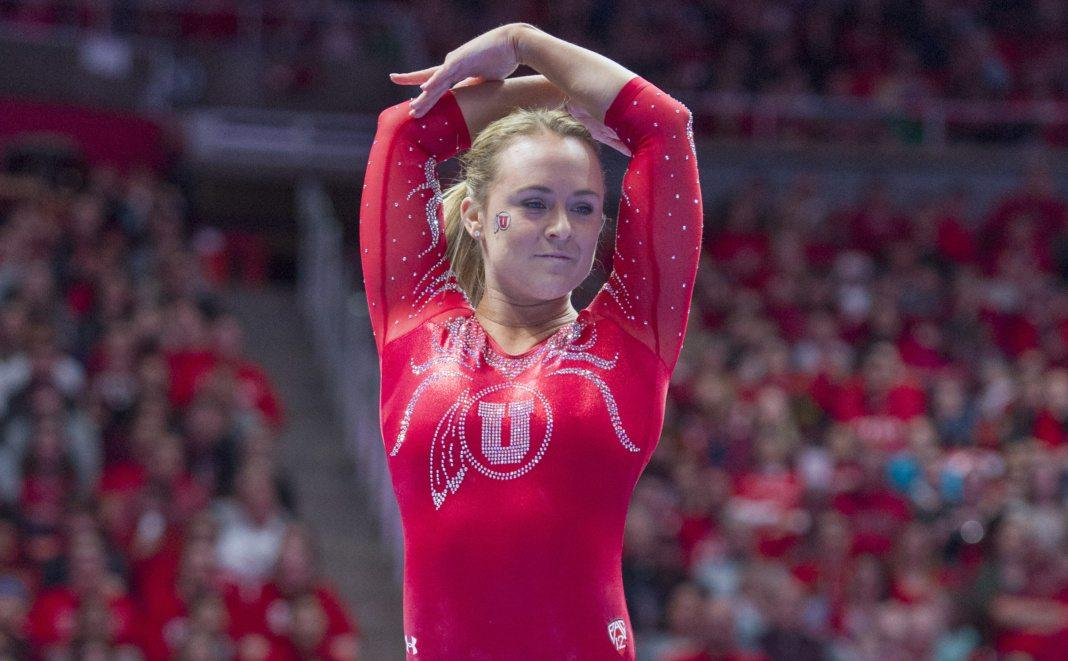 University of Utah women's gymnastics senior Maddy Stover performs on the balance beam in a duel meet vs. Brigham Young University at the Jon M. Huntsman Center in Salt Lake City, Utah on Friday, Jan. 5, 2018.  (Photo by Kiffer Creveling | The Daily Utah Chronicle)
