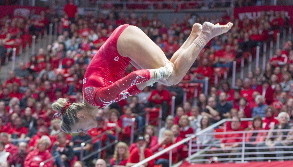 University of Utah women's gymnastics senior Tiffani Lewis performs on the floor in a duel meet vs. Brigham Young University at the Jon M. Huntsman Center in Salt Lake City, Utah on Friday, Jan. 5, 2018.  (Photo by Kiffer Creveling | The Daily Utah Chronicle)